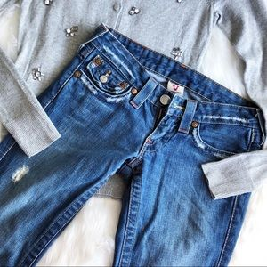 True Religion • Mid Wash Flared Denim